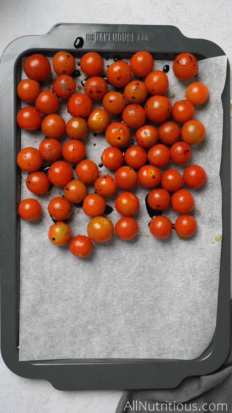 tomatoes with balsamic drizzle on sheet pan