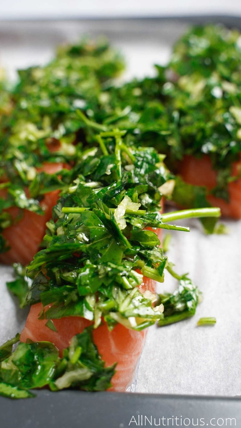 herb mixture on top of salmon
