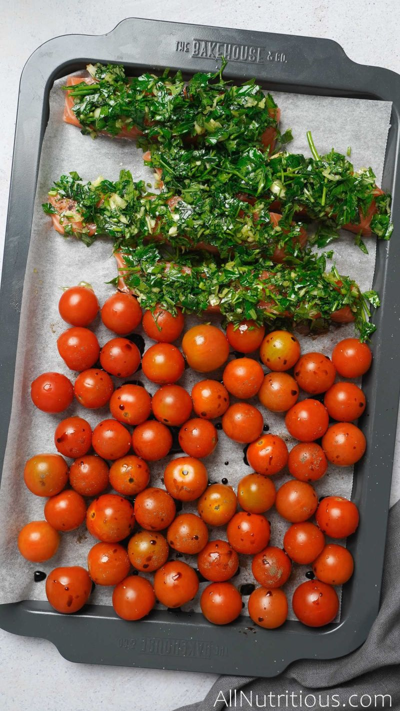 sheet pan with herb salmon and tomatoes