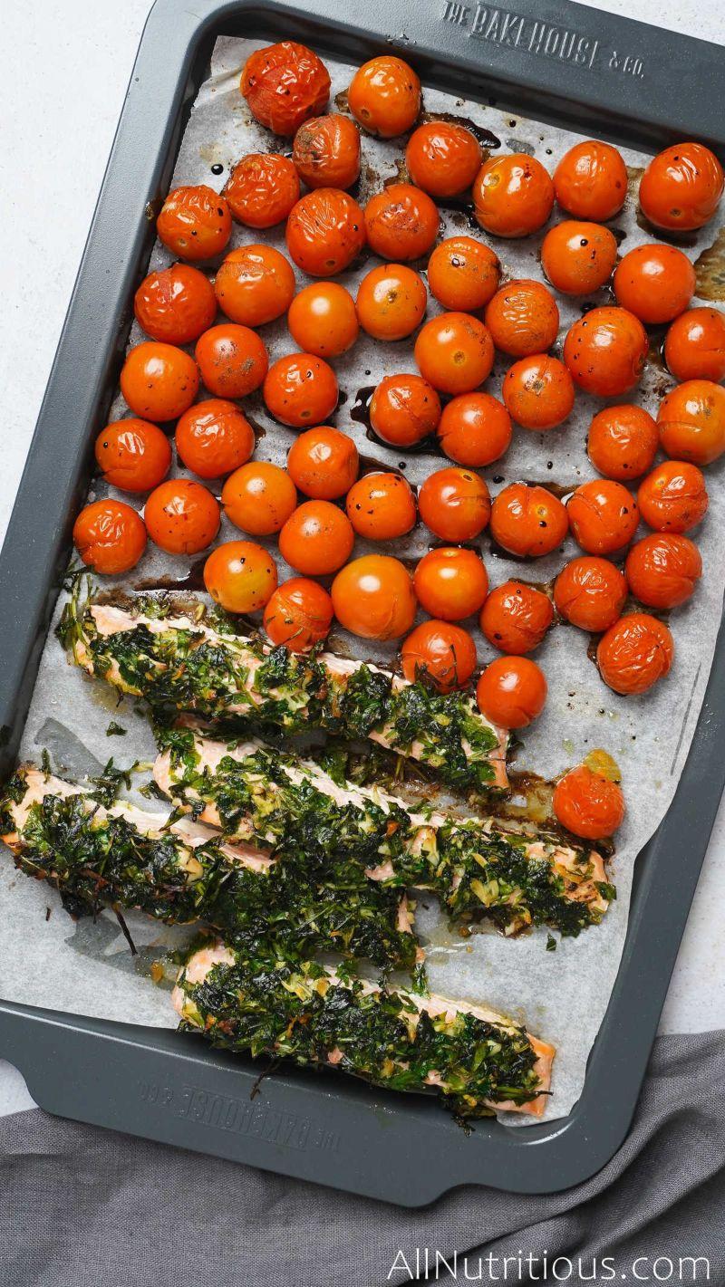cooked herb salmon sheet pan