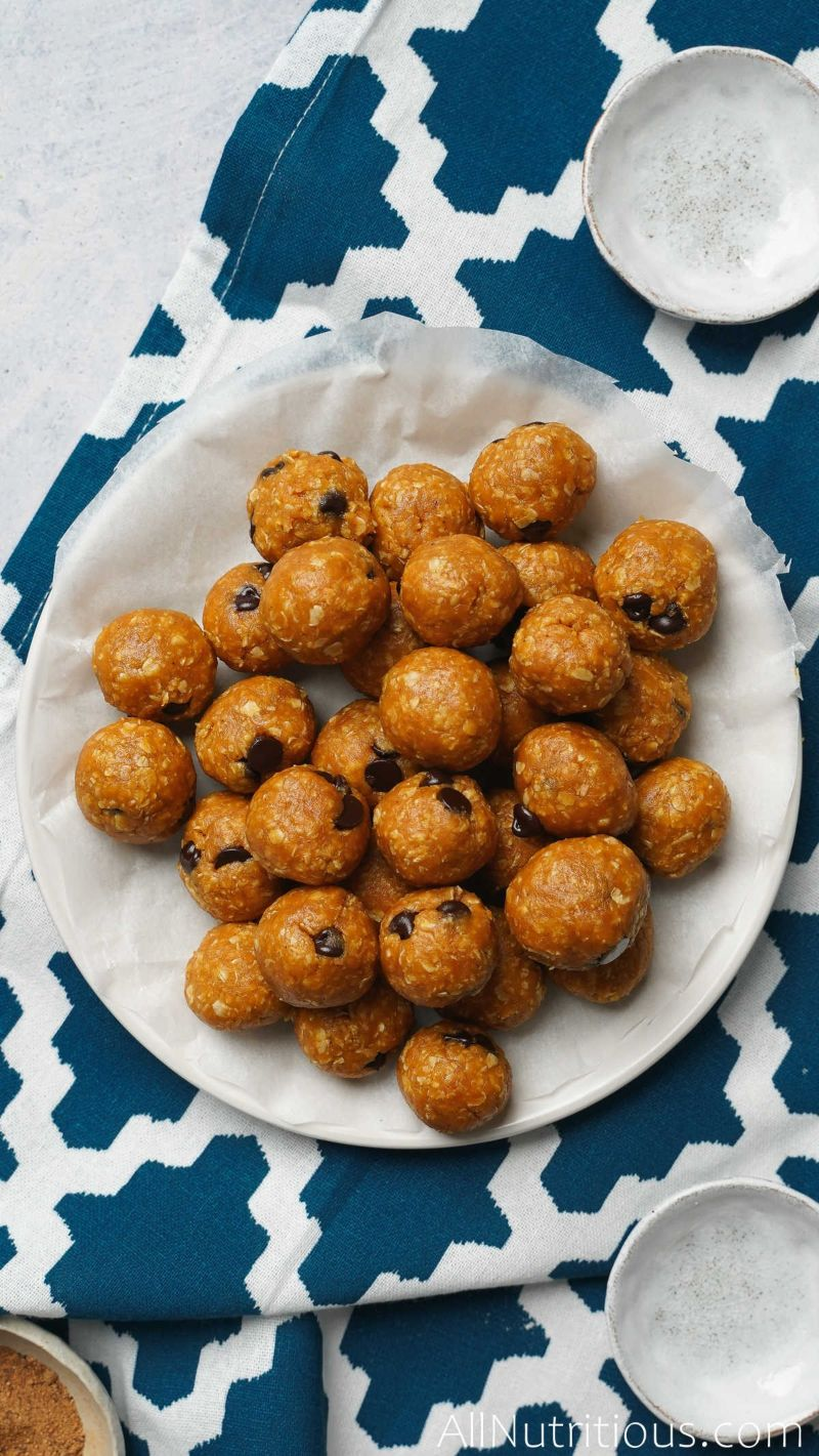 rolled protein balls on plate