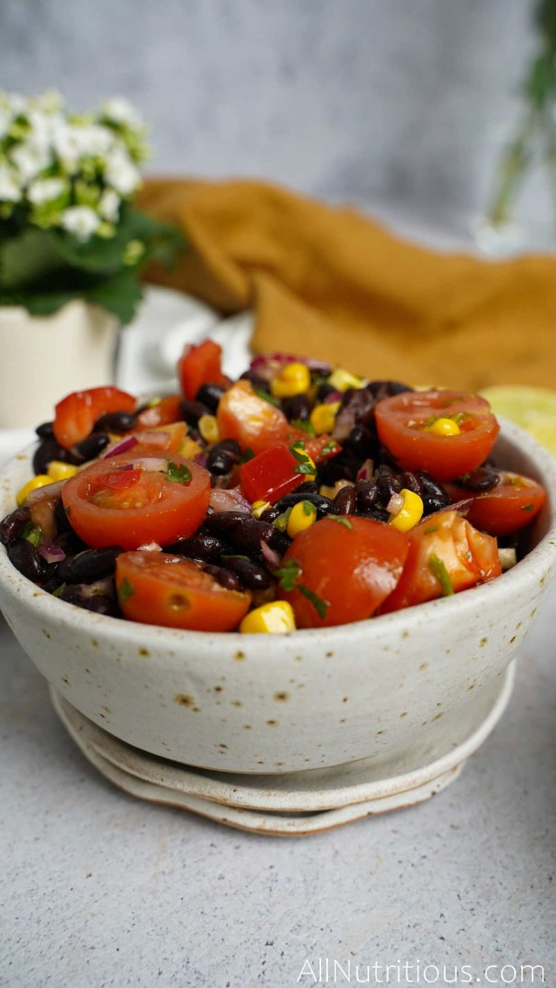 bowl of bean salad with tomatoes