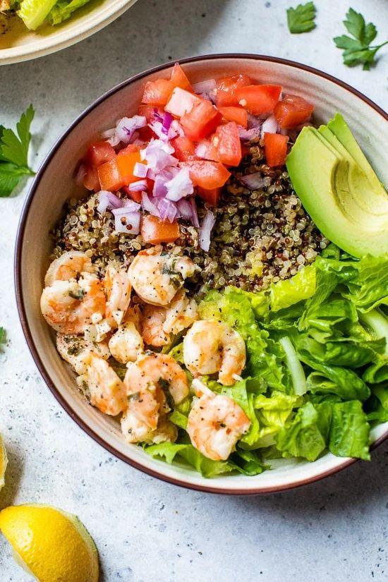 Lemon-Chili Shrimp Quinoa Bowls
