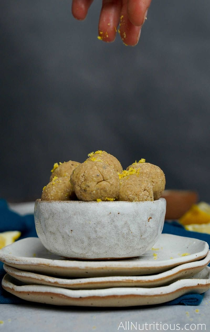 lemon zest on protein balls