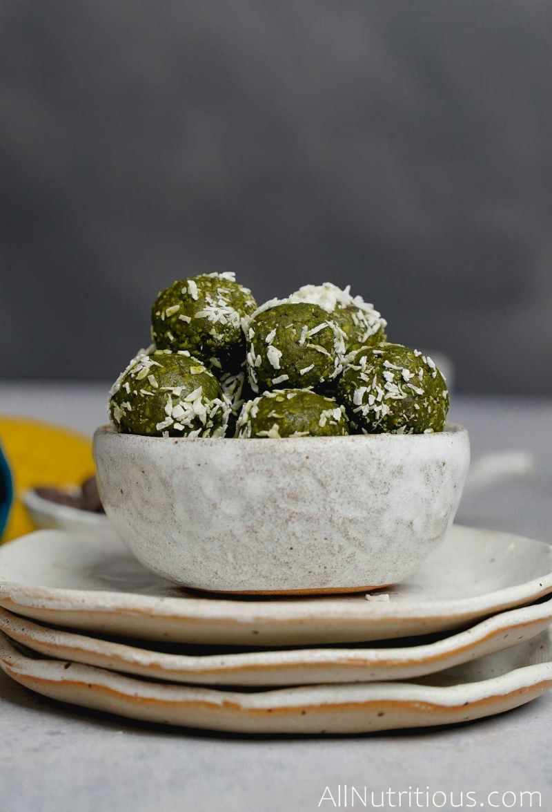 completed matcha balls with coconut