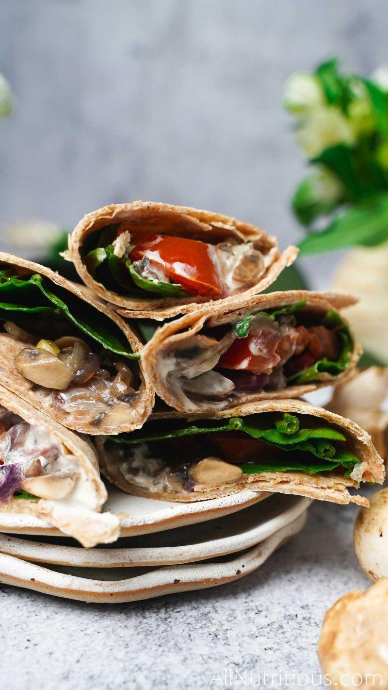 spicy mushroom wraps