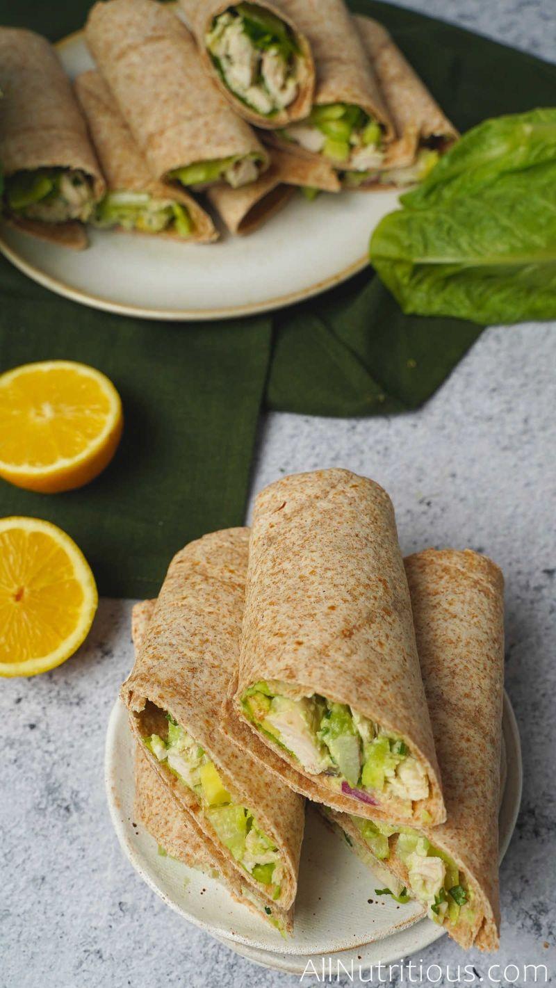 sliced chicken avocado wraps