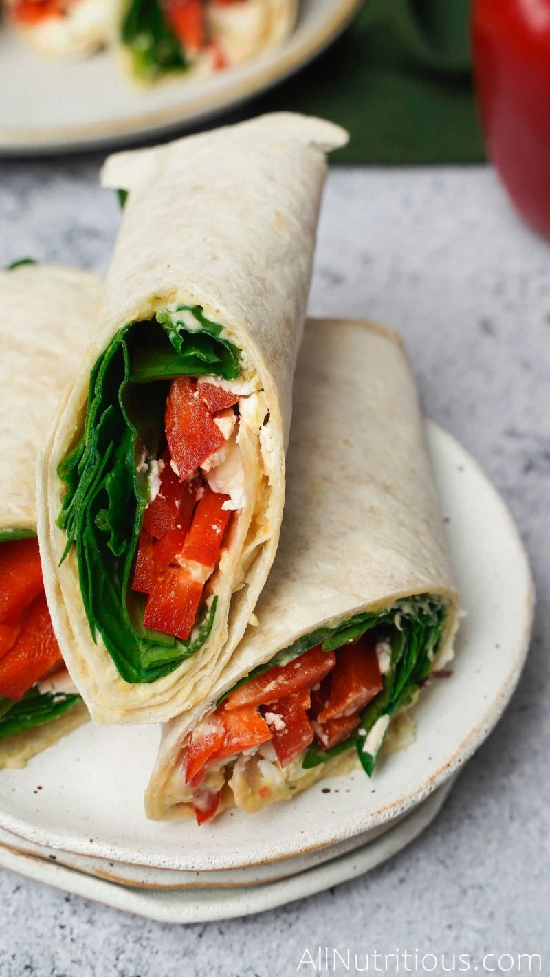 sliced spinach wraps with feta