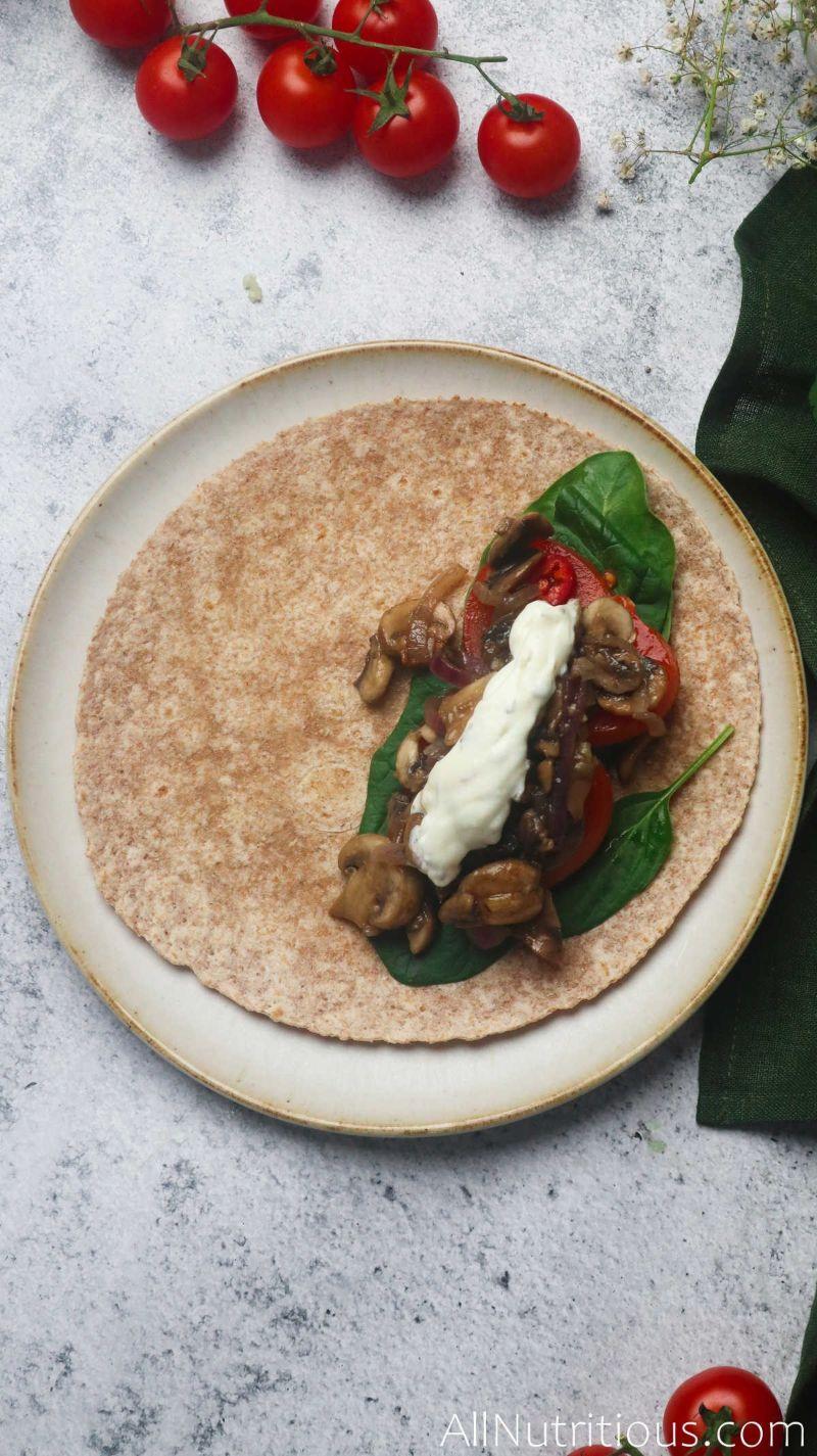 tortilla with mushroom mix and sauce
