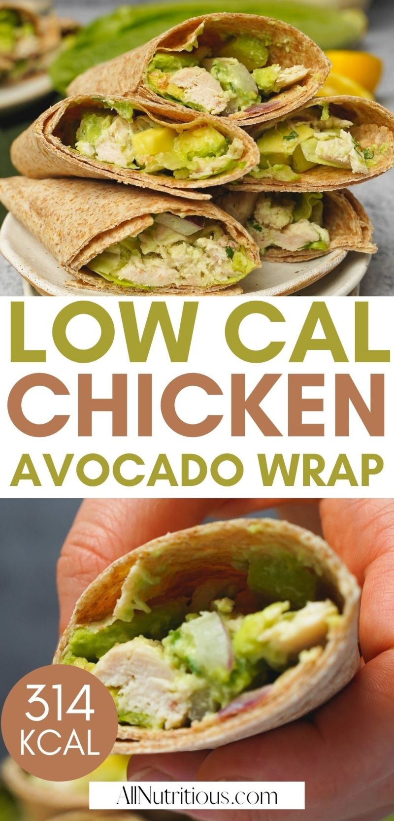 low cal chicken avocado wrap
