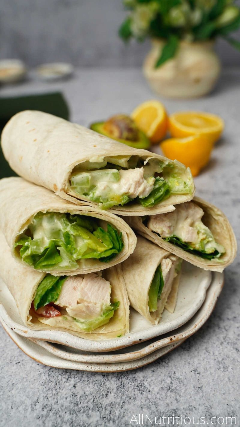 pile of chicken salad wraps