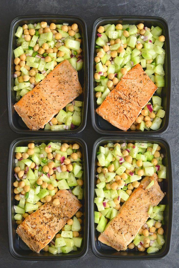 Salmon Cucumber Chickpea Salad