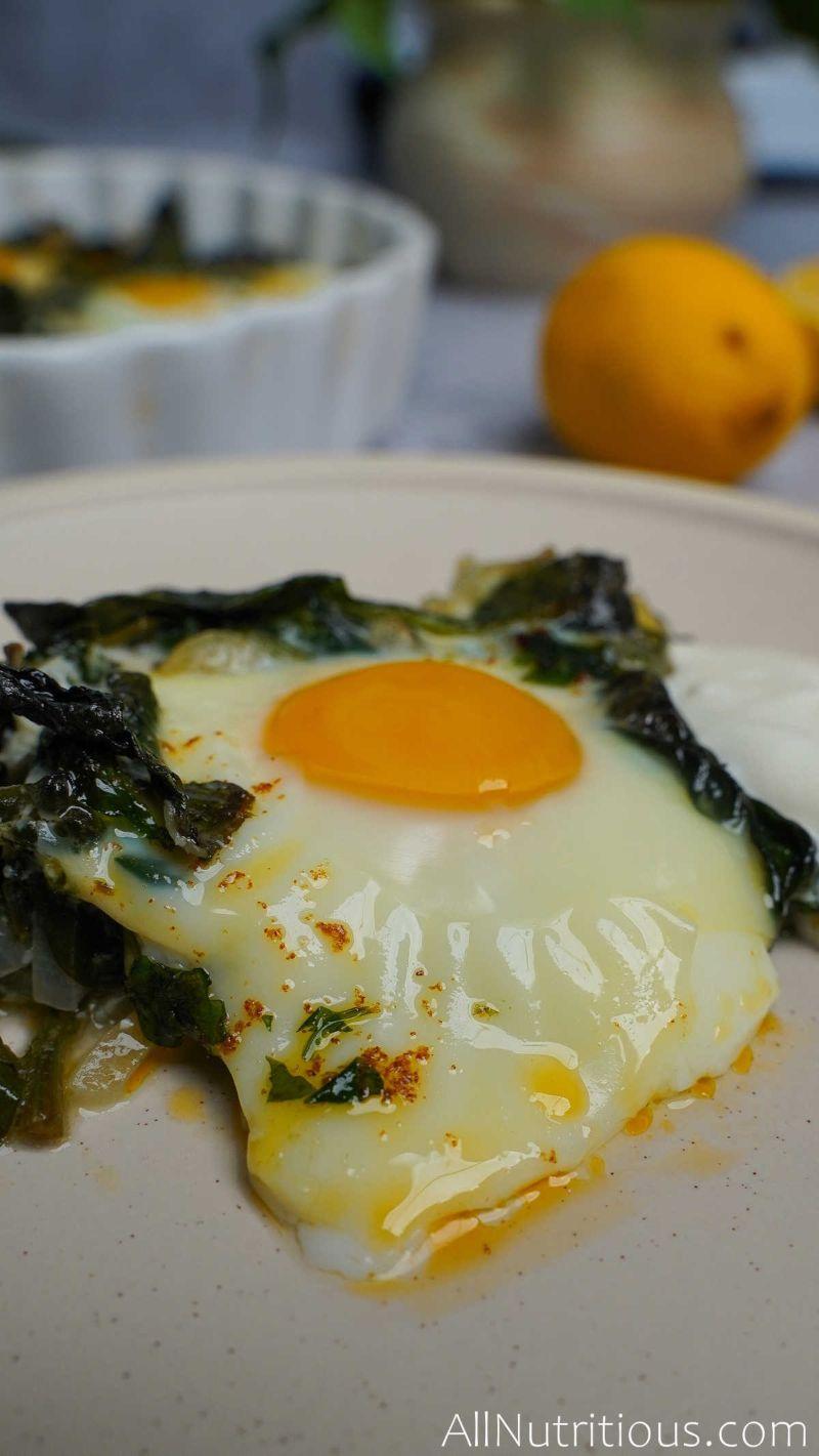 baked egg on plate