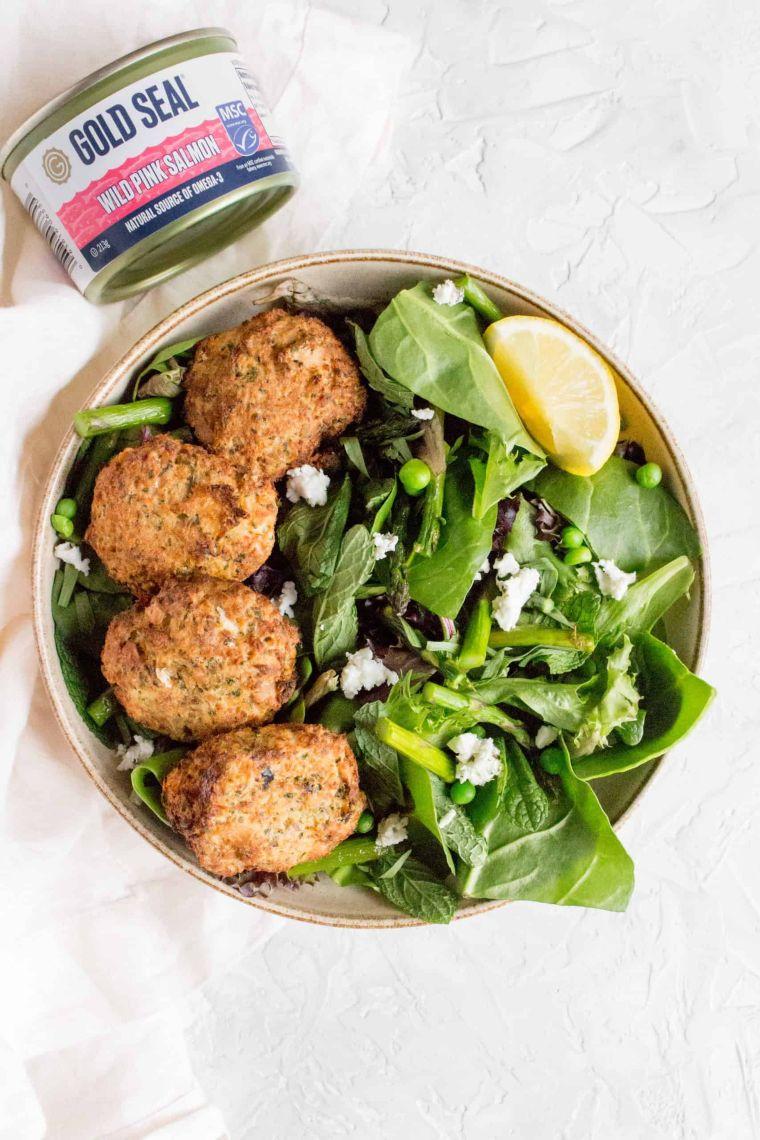 Salmon Patties with Spring Salad