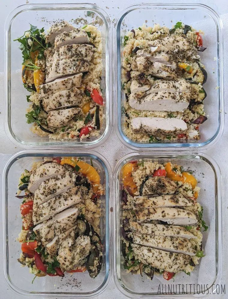 Baked Herb Chicken Breasts with Couscous Meal Prep