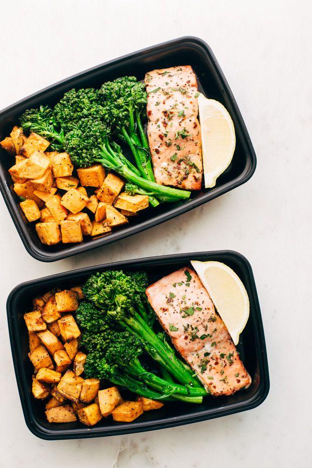 Lemon Roasted Salmon with Sweet Potatoes & Broccolini