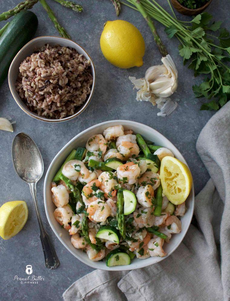 Lemon & Garlic Shrimp with Spring Veggies