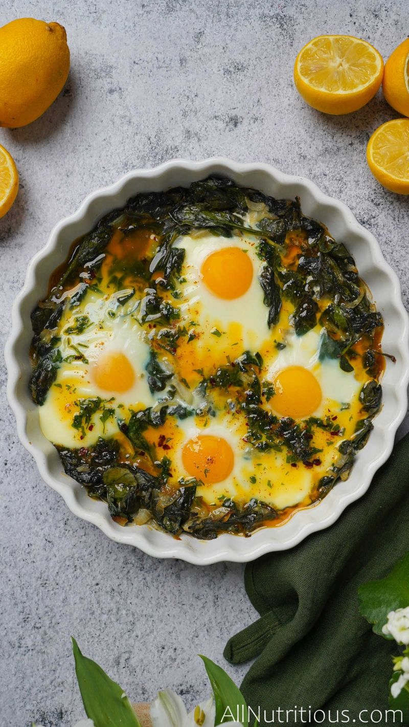 dish with baked eggs
