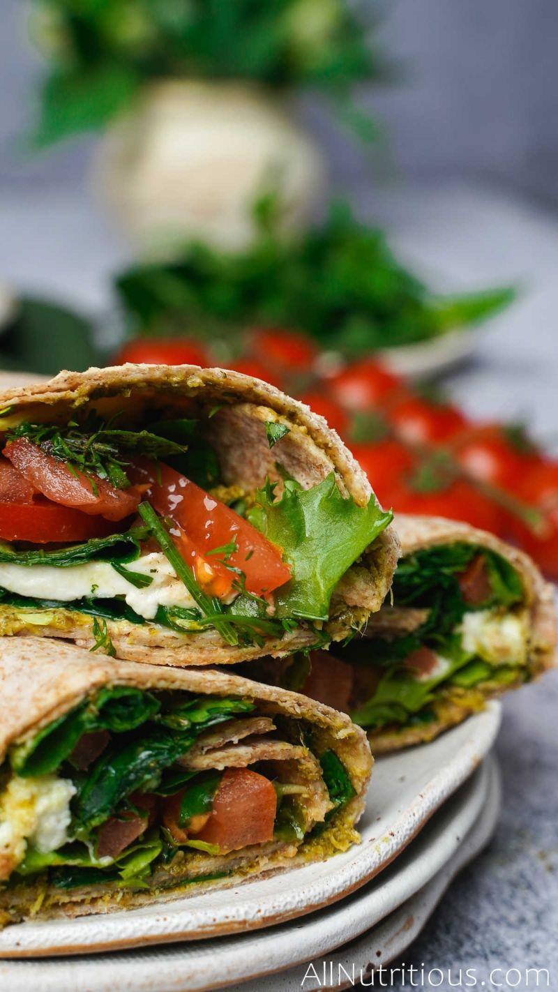 basil wraps on plate