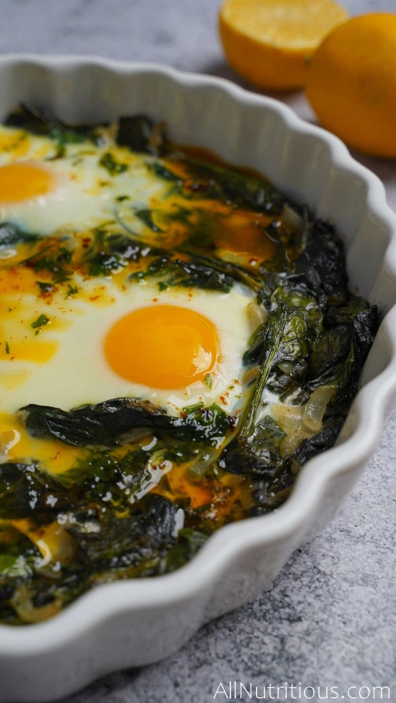 close up of baked eggs