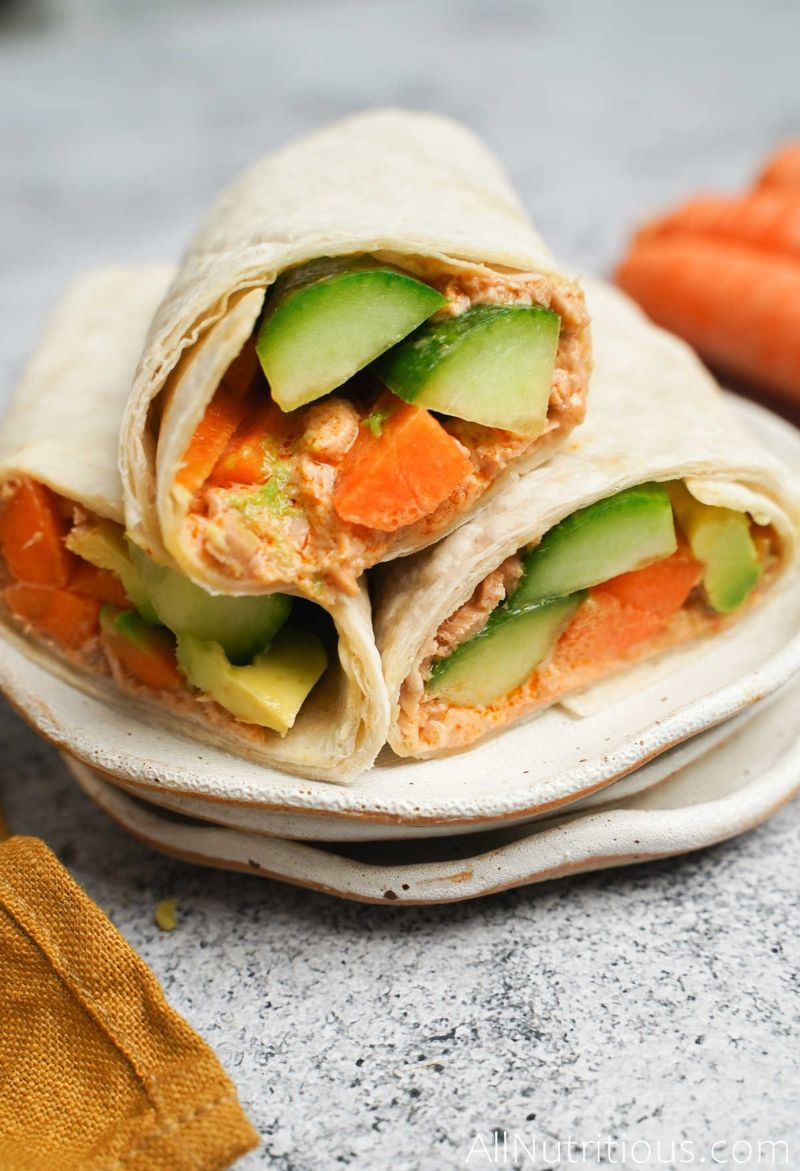 stack of wraps on plate
