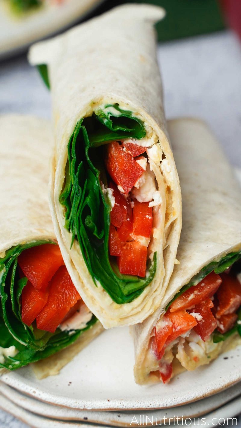 close up spinach wrap