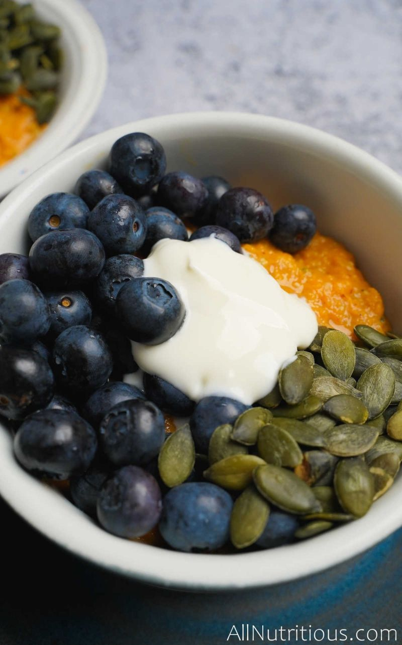 blueberries and seeds in sweet potato
