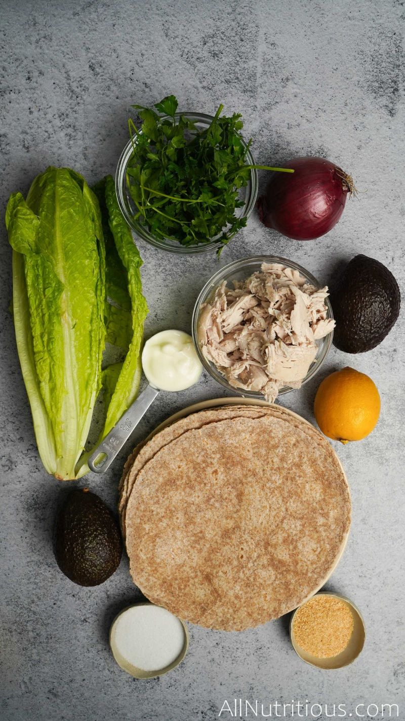 ingredients for chicken avocado wrap
