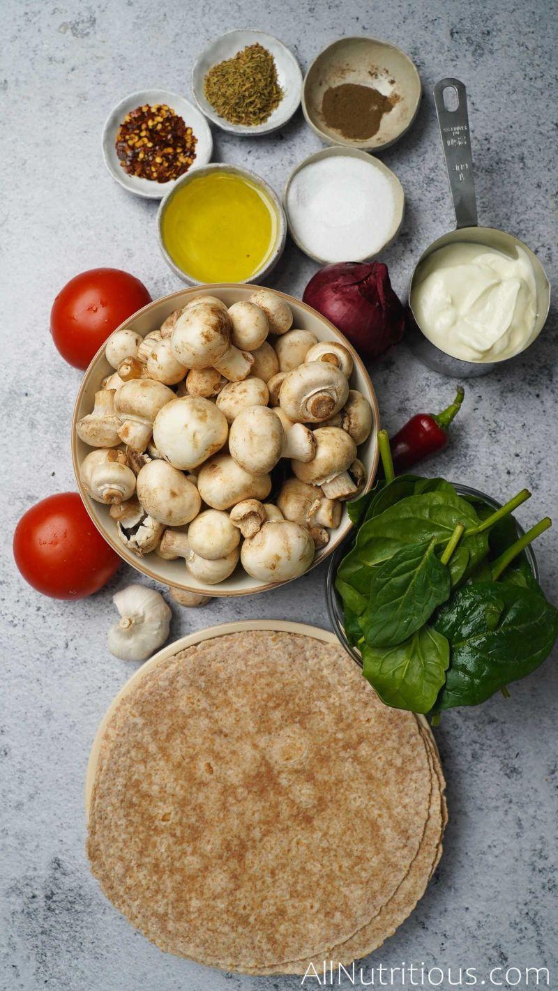 ingredients for mushroom wraps