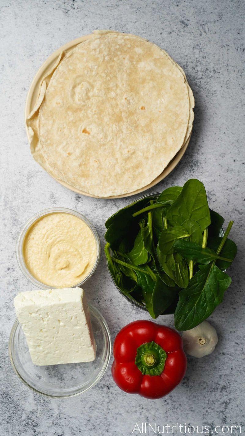 ingredients for feta wraps