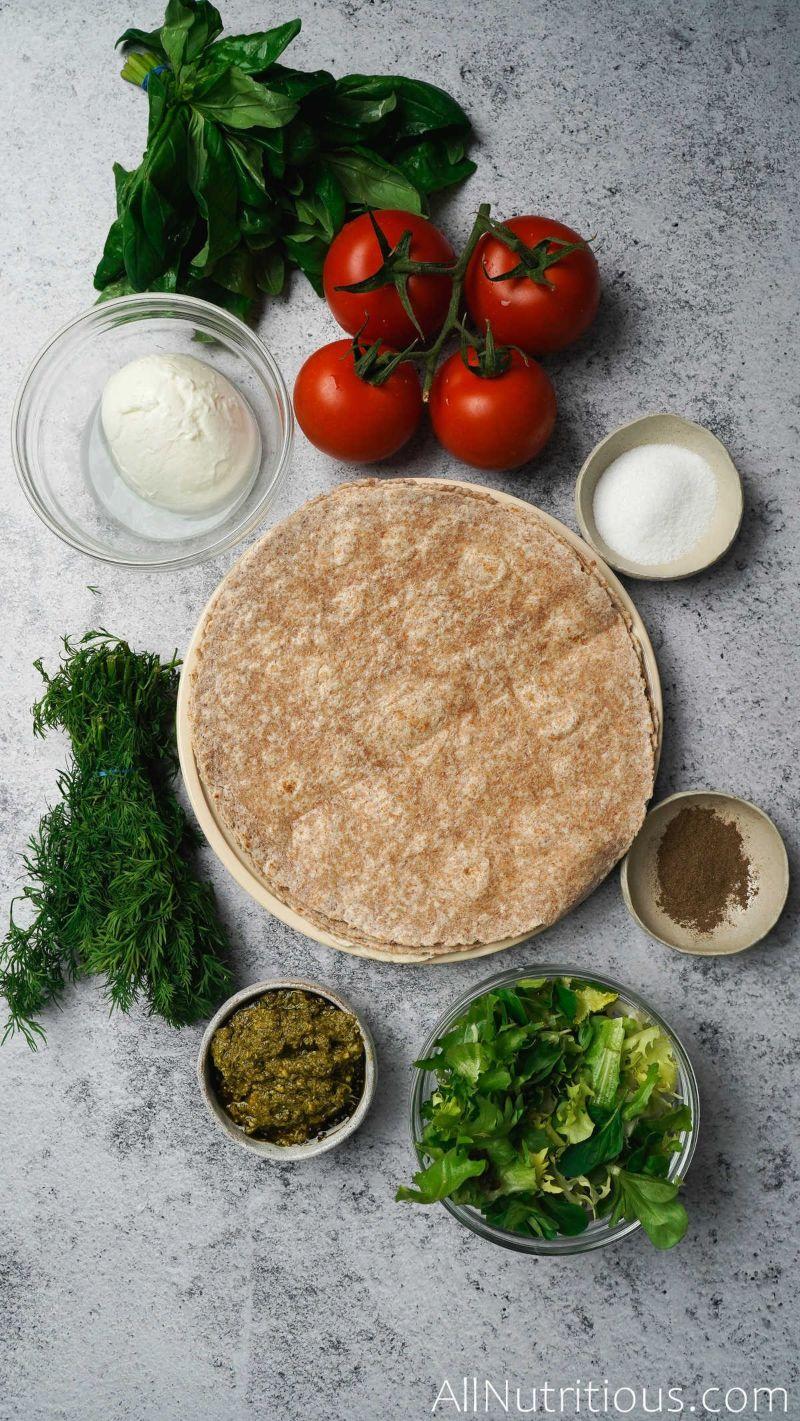 ingredients for tomato wraps