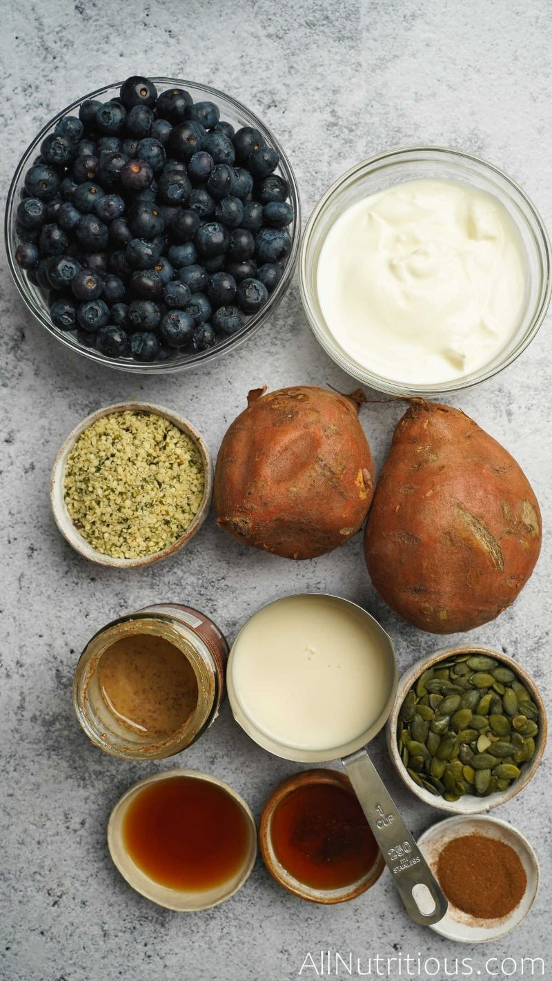 ingredients for sweet potato bowl