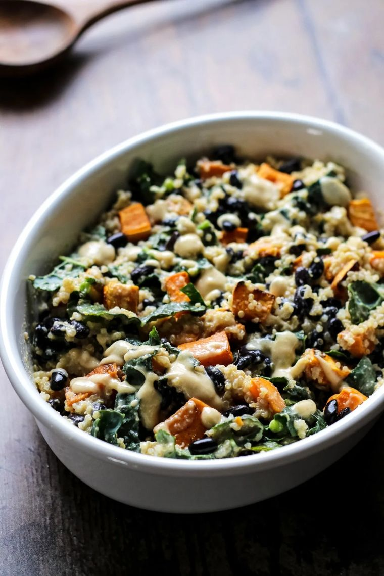 Sweet Potato Casserole with Black Beans, Kale & Quinoa