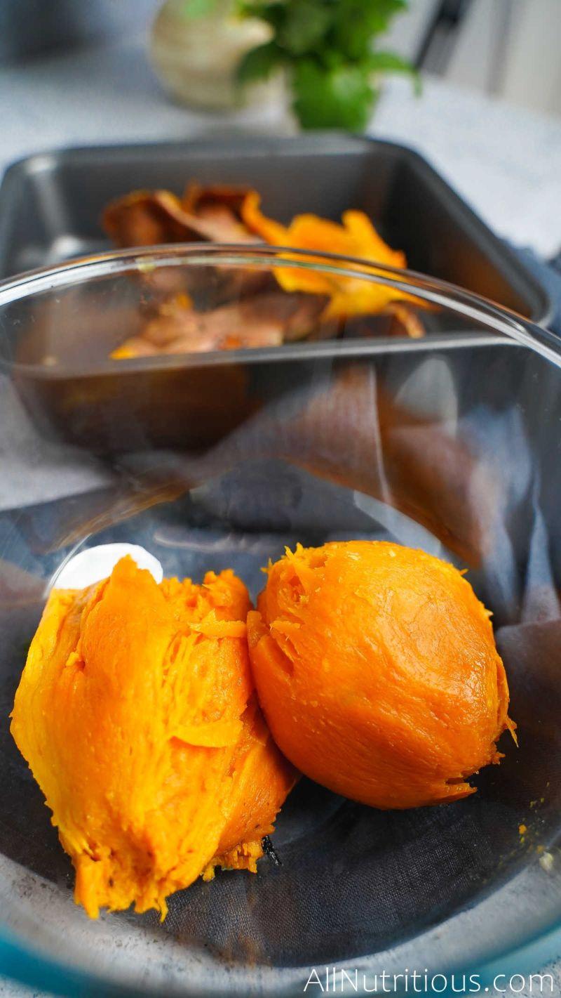 feel sweet potato in bowl