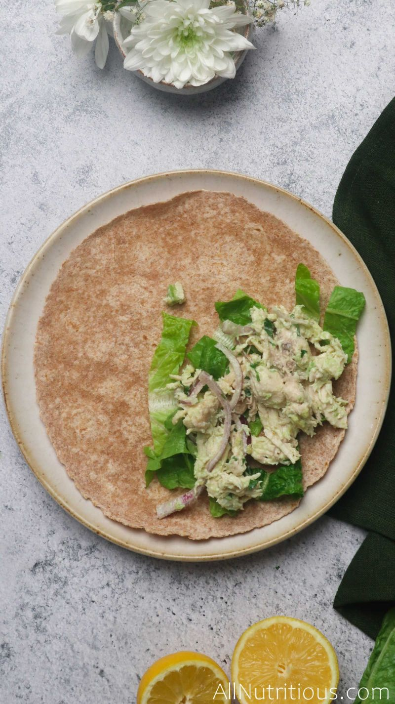 tortilla with lettuce mixture