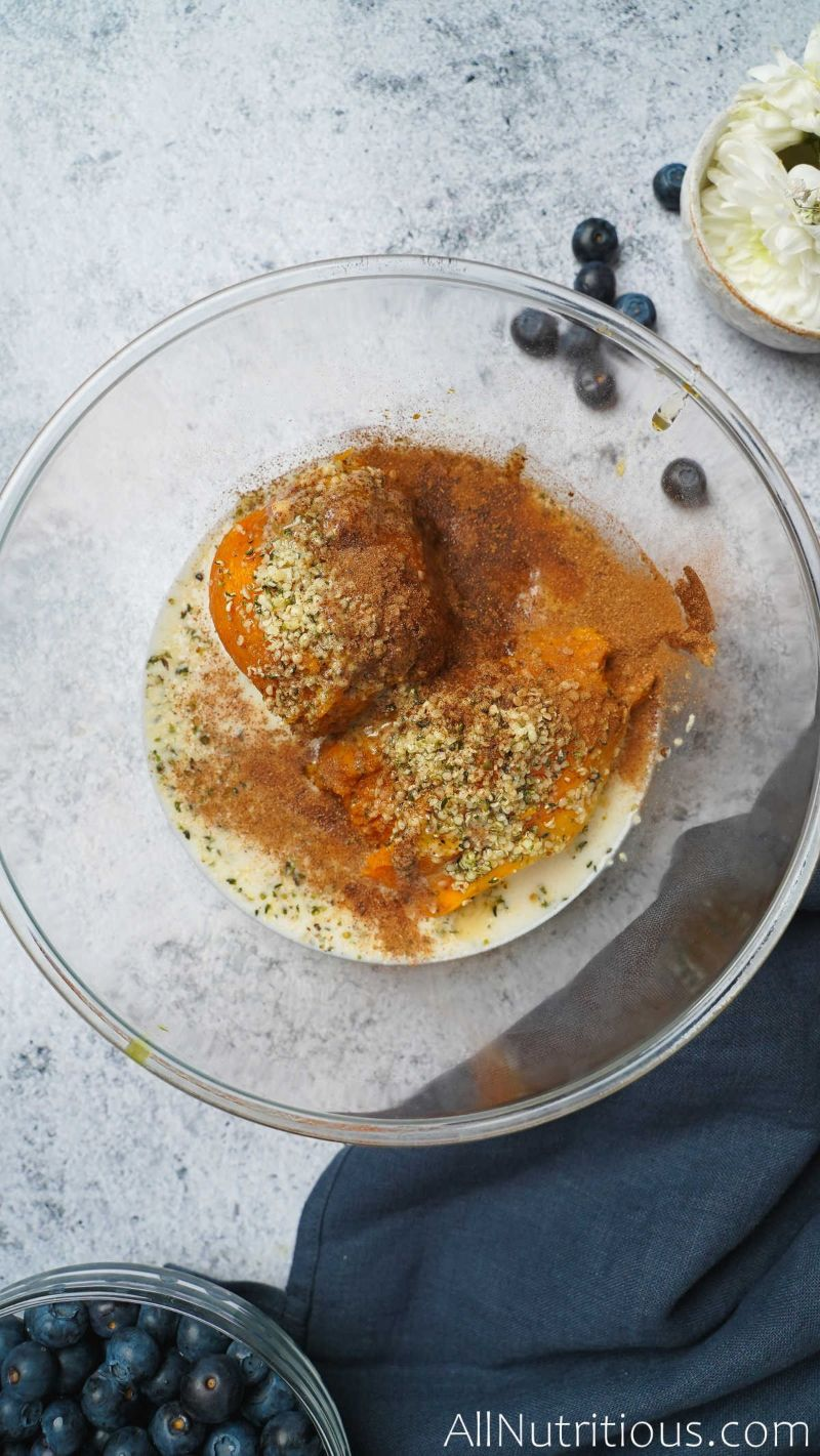 sweet potato with spices in bowl