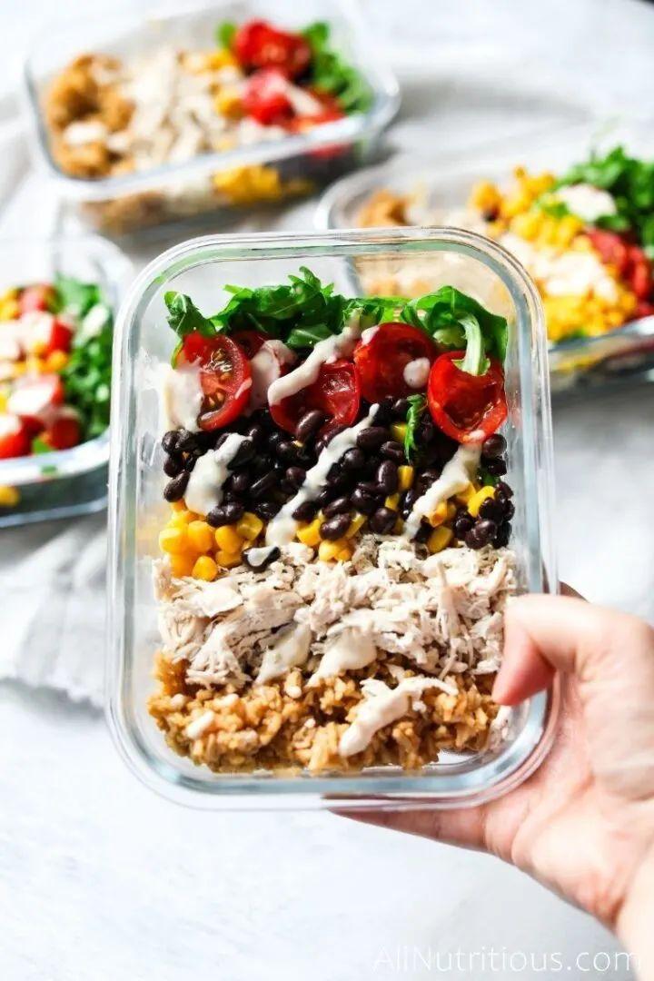 Chicken Burrito Bowls Meal Prep
