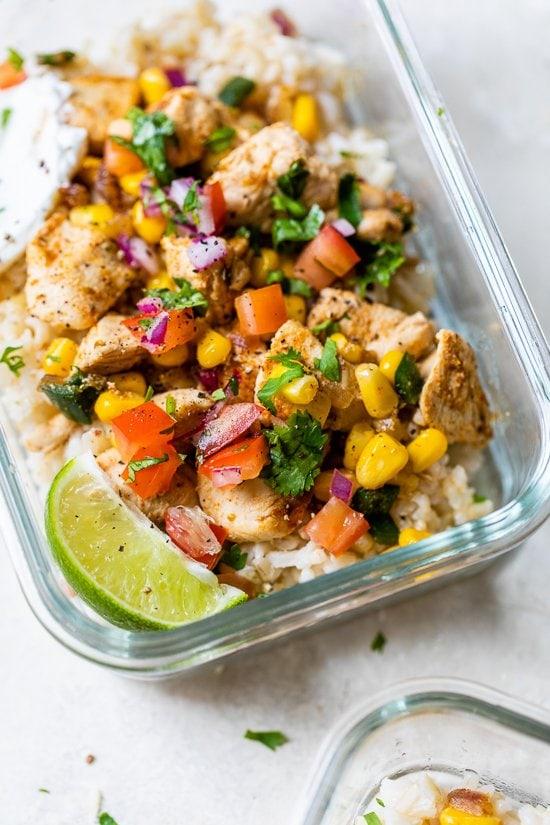 Chicken Taco Poblano Rice Bowls