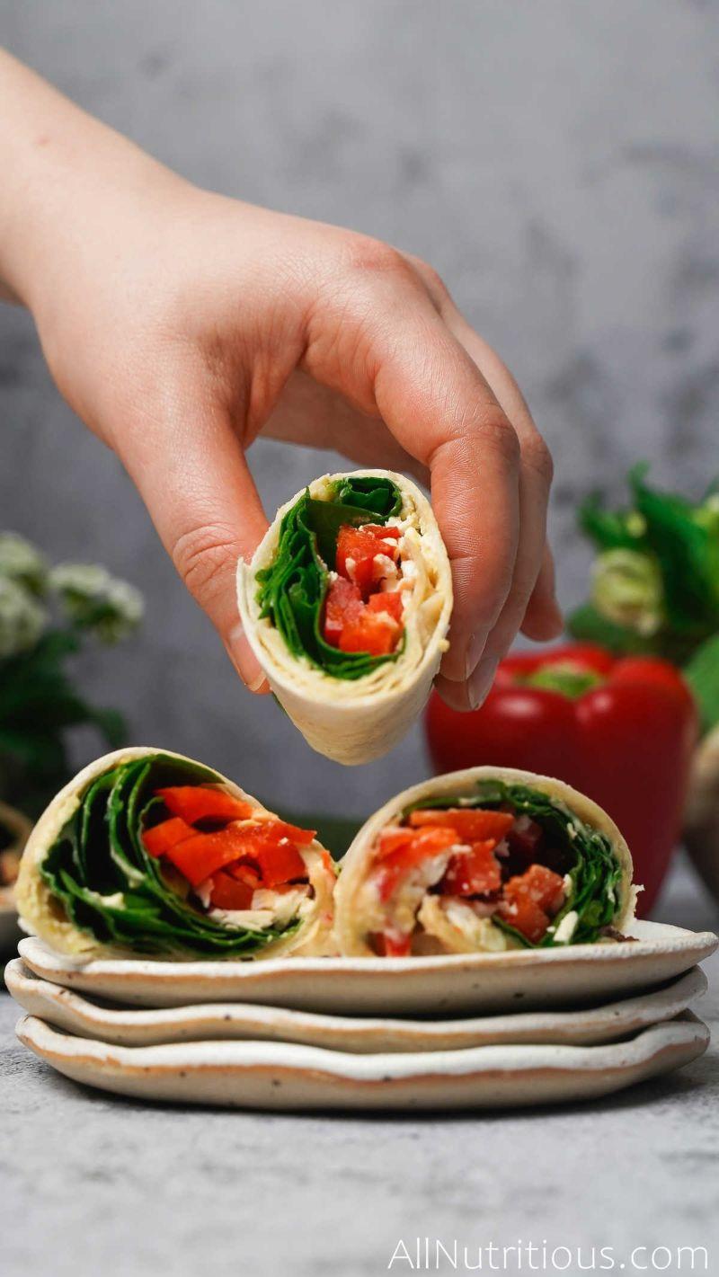3 feta wraps on plate