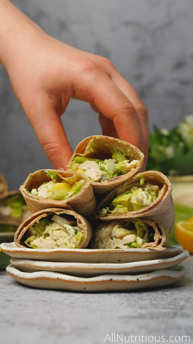 5 stacked wraps on plate