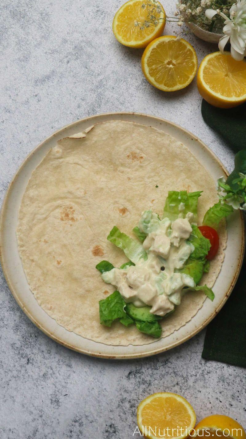 chicken salad on tortilla