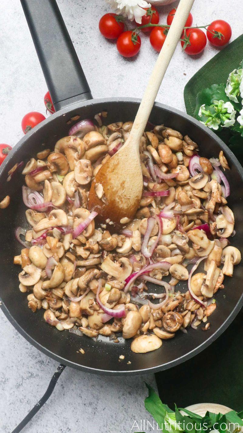 cooking ingredients in pan