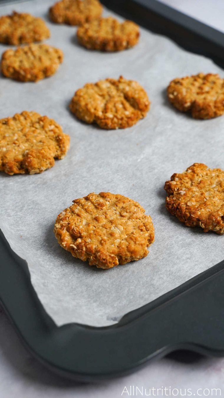 baking sheet of baked cookies