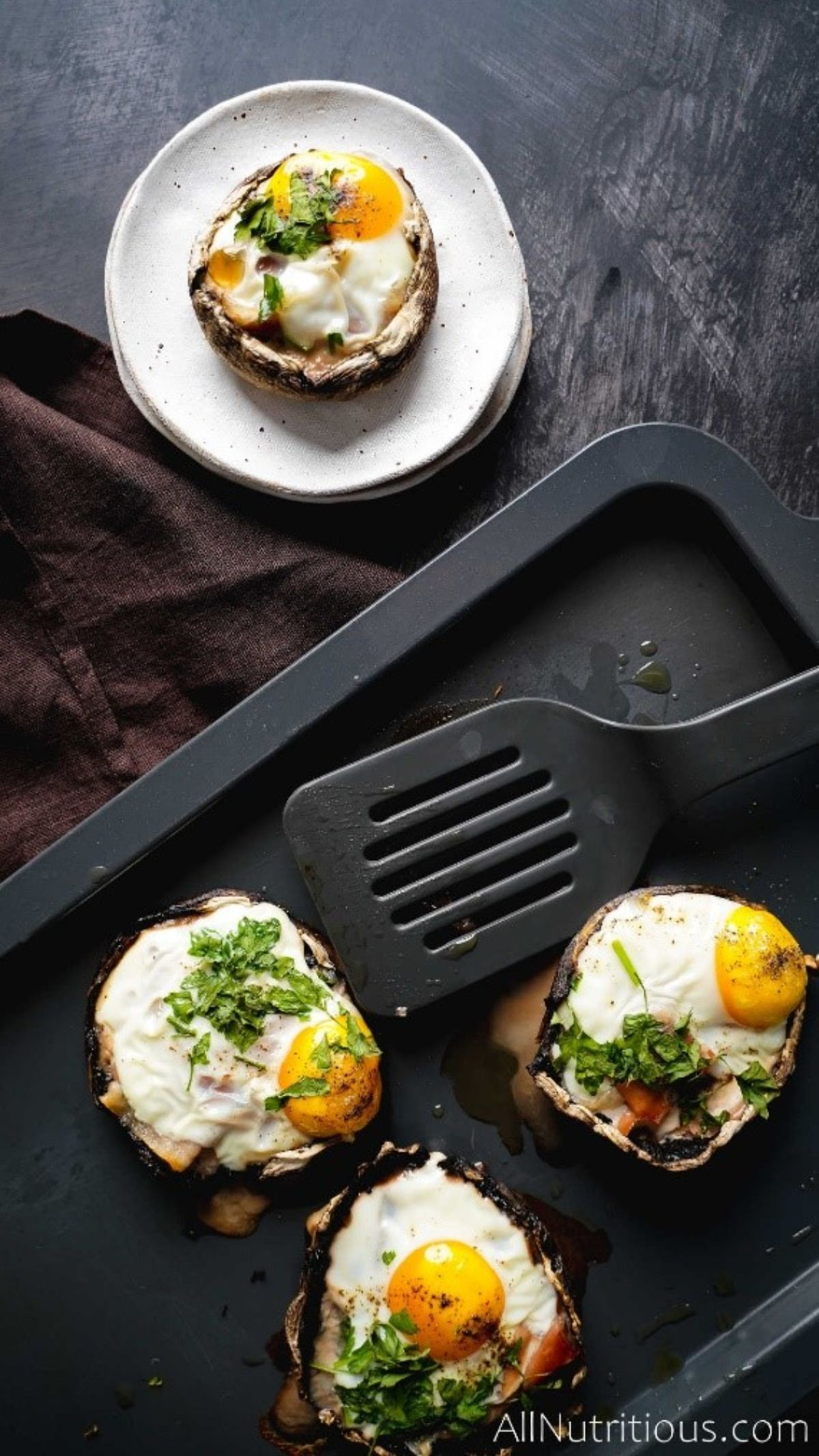 sheet pan of cooked mushroom egg cups