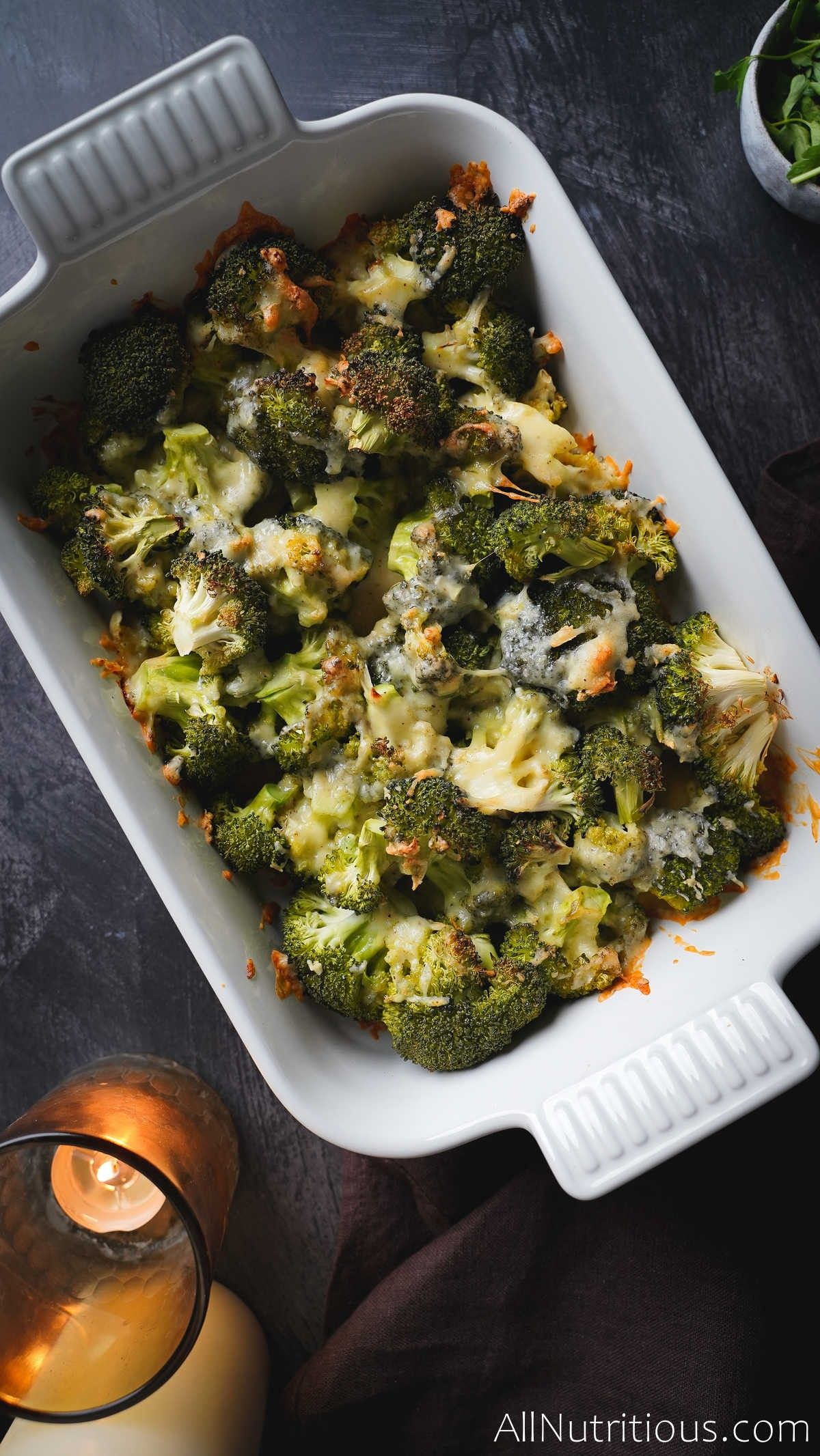 cooked cheesy broccoli
