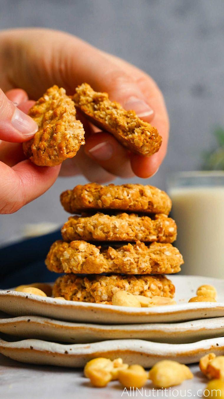 breaking peanut butter cookie