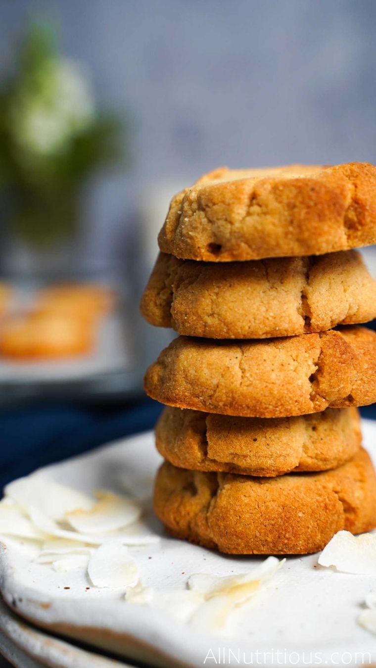 stack of coconut cookies