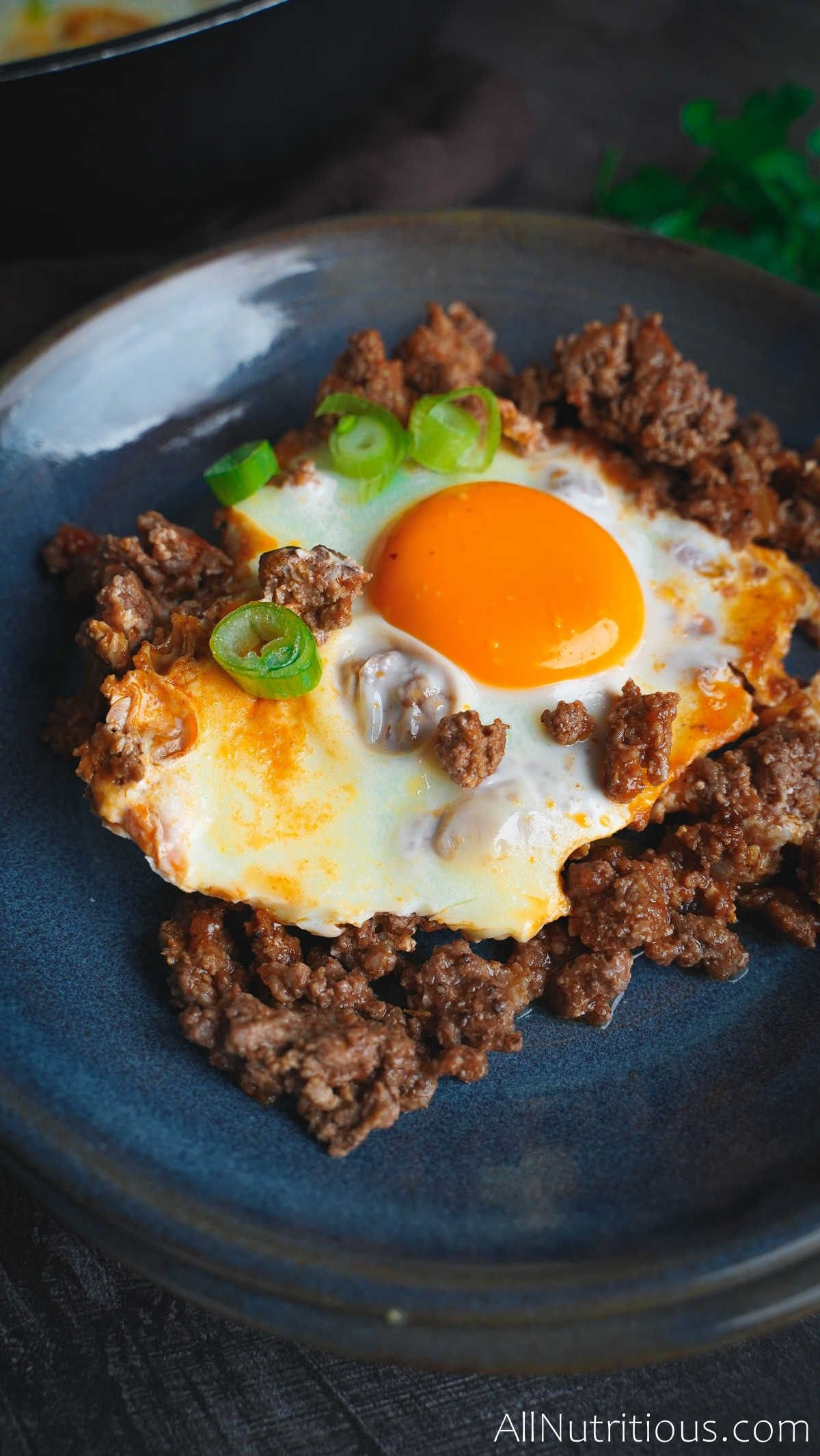 plate with egg and meat