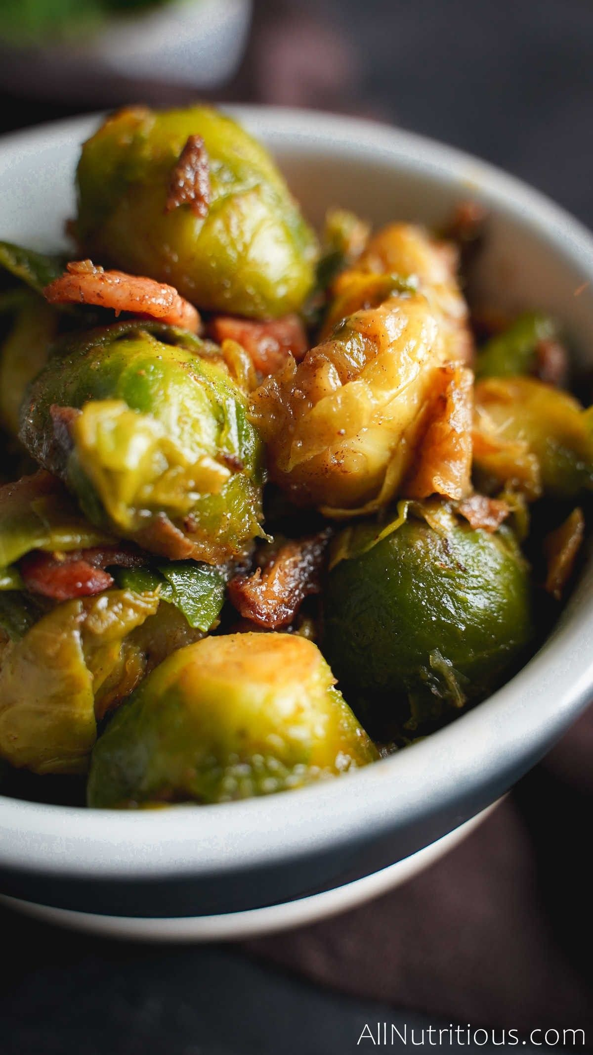 close up of bacon brussel sprouts