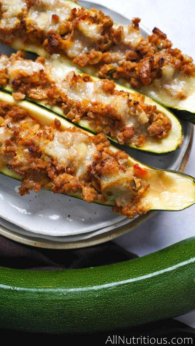 three cooked zucchini boats
